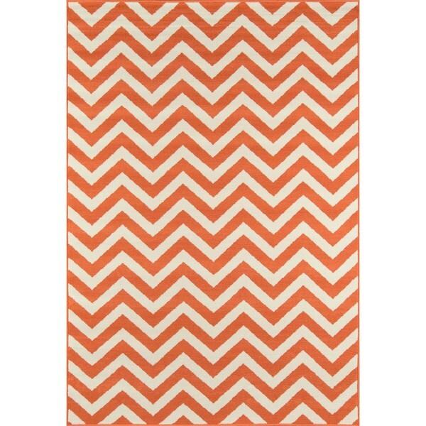 "Momeni Baja Chevron Orange Indoor/Outdoor Area Rug - 7'10"" x 10'10"""