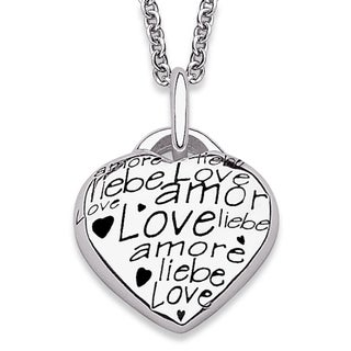 Sterling Silver 'Language of Love' Heart Necklace