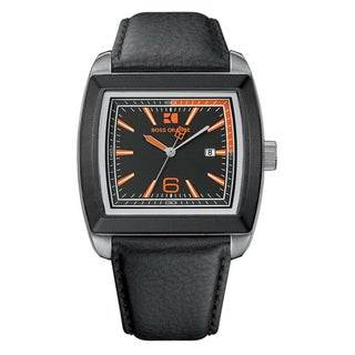 Hugo Boss Men's Orange/ Black Leather Strap Watch