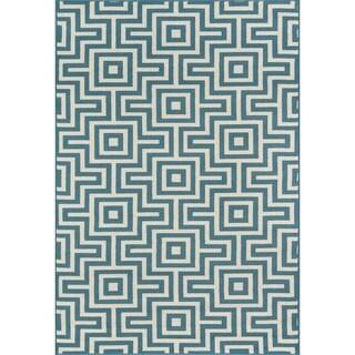 "Momeni Baja Retro Blue Indoor/Outdoor Area Rug - 5'3"" x 7'6"""