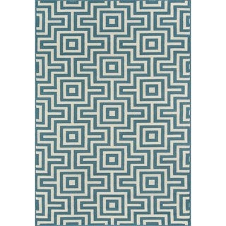 Indoor/Outdoor Blue Retro Rug (6'7 x 9'6)