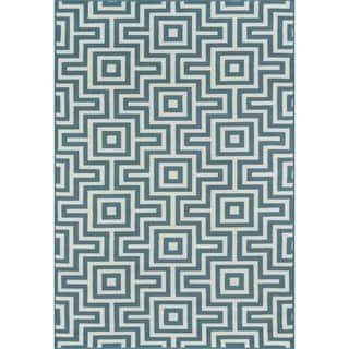Indoor/Outdoor Blue Retro Rug (6'7 x 9'6)|https://ak1.ostkcdn.com/images/products/8104213/P15453879.jpg?impolicy=medium