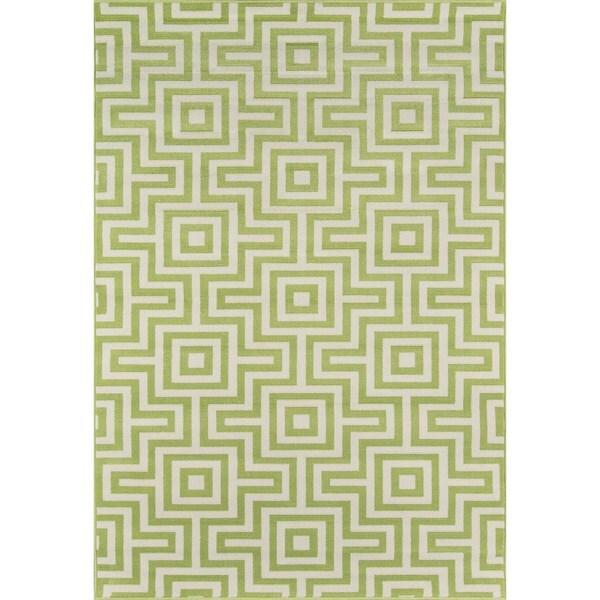 Momeni Baja Retro Green Indoor/Outdoor Area Rug (6'7 x 9'6)