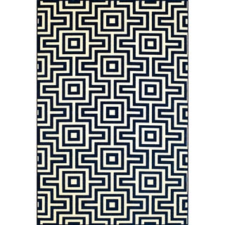 Indoor/Outdoor Navy Retro Rug (1'8 x 3'7)