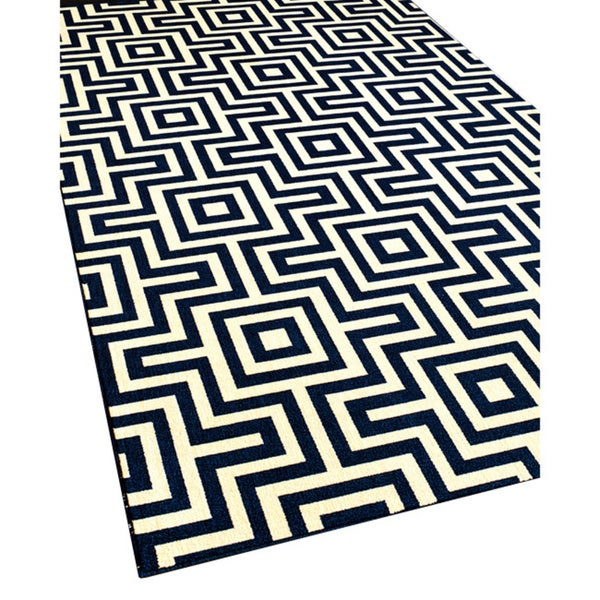 Indoor Outdoor Navy Retro Rug 7 10 x 10 10 Free