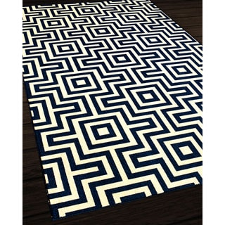 Indoor/Outdoor Navy Retro Rug (6'7 x 9'6)