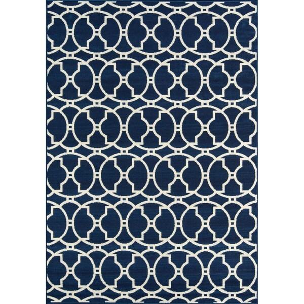 "Momeni Baja Moroccan Tile Navy Indoor/Outdoor Area Rug (2'3 x 4'6) - 2'3"" x 4'6"""