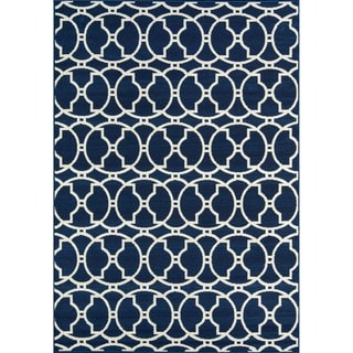 Indoor/ Outdoor Morrocan Navy Rug (2'3 x 4'6)