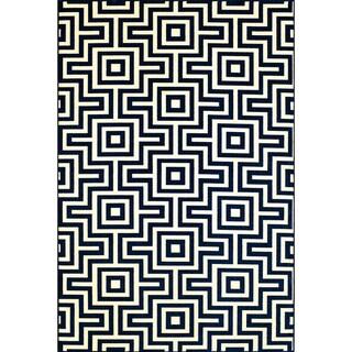 Indoor/Outdoor Blue Retro Rug (8'6 x 13')