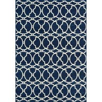"Momeni Baja Moroccan Tile Navy Indoor/Outdoor Area Rug - 1'8"" x 3'7"""