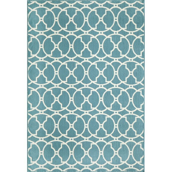 Moroccan Tile Blue Indoor Outdoor Rug 6 7 x 9 6 Free