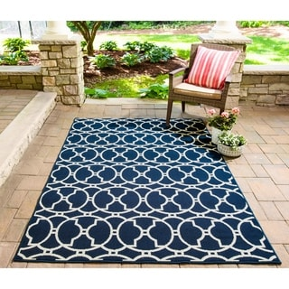 Momeni Baja Moroccan Tile Navy Indoor/Outdoor Area Rug (5'3 x 7'6)