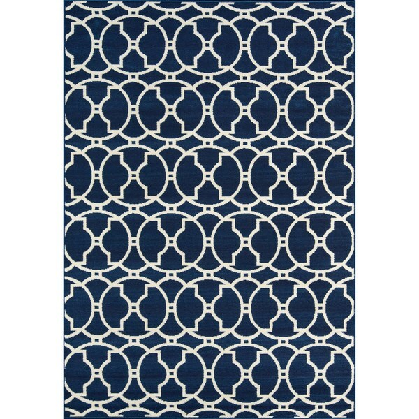 "Momeni Baja Moroccan Tile Navy Indoor/Outdoor Area Rug (8'6 x 13') - 8'6"" x 13'"