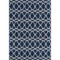 "Momeni Baja Moroccan Tile Navy Indoor/Outdoor Area Rug - 8'6"" x 13'"