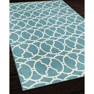 Moroccan Tile Blue Indoor/ Outdoor Rug (5'3 x 7'6)