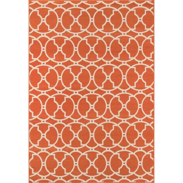 Moroccan Tile Orange Indoor Outdoor Rug 6 7 X 9 6
