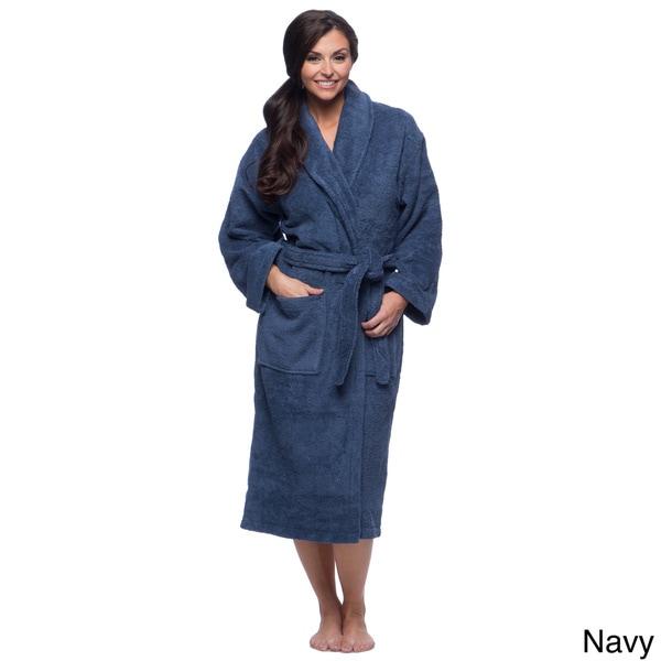 Salbakos Ultra-Thick Turkish Cotton Shawl Collar Navy Blue Unisex Bath Robe