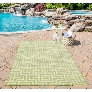 Indoor/ Outdoor Retro Green Rug (3'11 x 5'7)