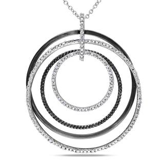 Miadora Sterling Silver 1/4ct TDW Diamond Circle Necklace