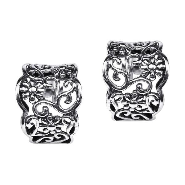 Handmade Silver Floral Vines Half Hoop Post Earrings (Thailand)