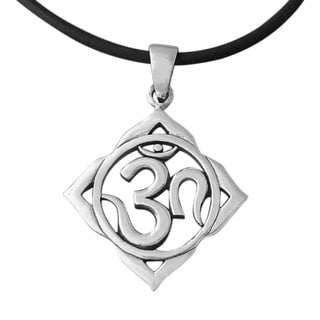 Handmade Silver Mystic Aum Om Prayer Sign Necklace (Thailand)