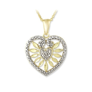 DB Designs 18k Gold over Silver Diamond Accent Flower Heart Necklace