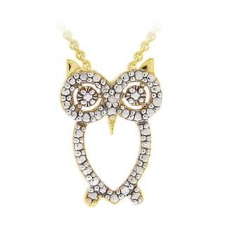 DB Designs 18k Gold over Silver Diamond Accent Owl Necklace