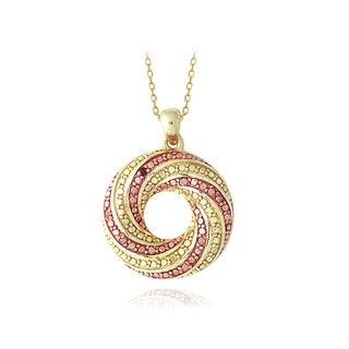 DB Designs 18k Yellow and Rose Gold over Silver Swirl Circle Necklace