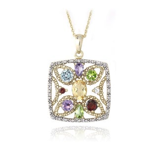 Glitzy Rocks 18k Gold over Silver 2 1/2ct TGW Multi Gemstone Square Necklace
