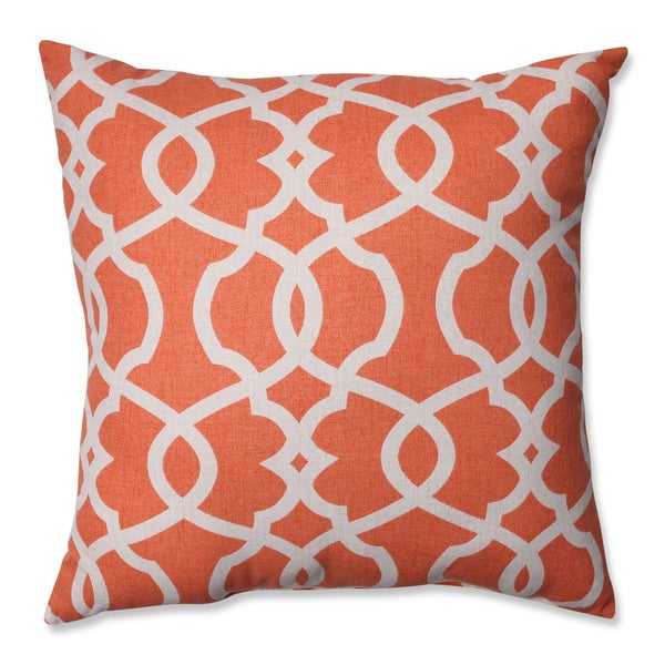 Pillow Perfect Lattice Damask Tangerine 18-inch Throw Pillow