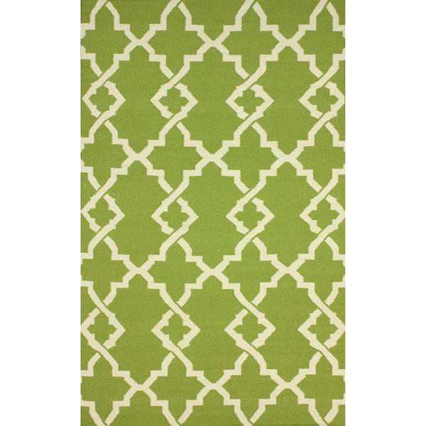 nuLOOM Handmade Morroccan Trellis Wool Flatweave Kilim Green Rug (7'6 x 9'6). Opens flyout.