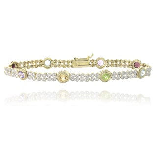 Glitzy Rocks 18k Gold over Silver 2ct TGW Multi Gemstone 1/5ct TDW Diamond Bracelet (I-J, I2-I3)