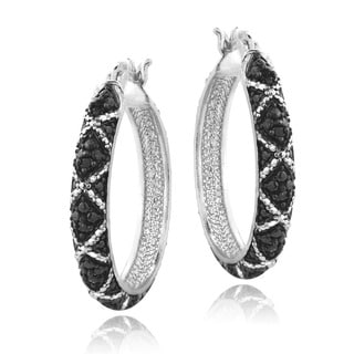 DB Designs Sterling Silver 1/10ct Black Diamond Criss-Cross Hoop Earrings