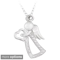 DB Designs Silver Diamond Accent Angel and Heart Silhouette Necklace