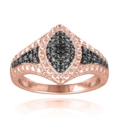 DB Designs 18k Rose Gold over Silver Black Diamond Accent Marquise Ring