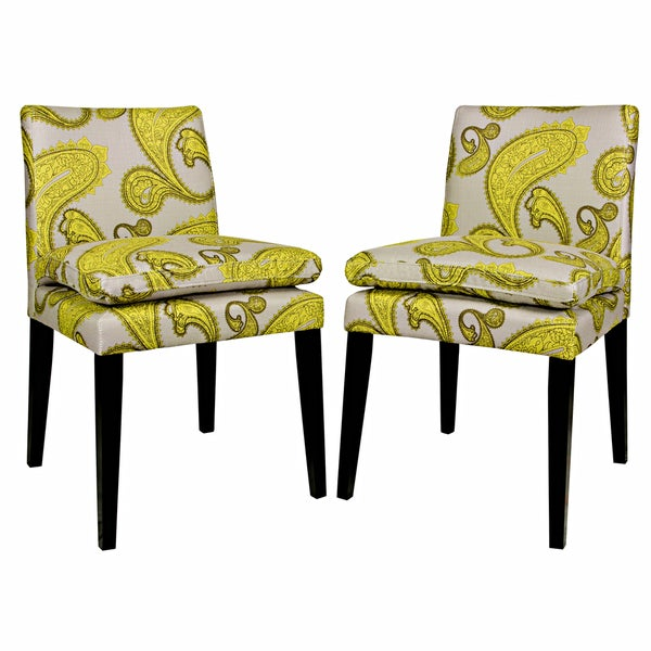 Better Living Orion Lemongrass Paisley Upholstered Dining Chairs (Set of 2)