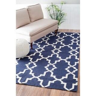 nuLOOM Handmade Morroccan Trellis Wool Flatweave Kilim Navy Blue Rug (5' x 8')