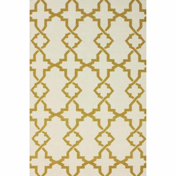 nuLOOM Handmade Morroccan Trellis Wool Flatweave Kilim Gold Rug (5' x 8')