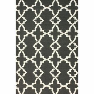 nuLOOM Handmade Morroccan Trellis Wool Flatweave Kilim Grey Rug (5' x 8')