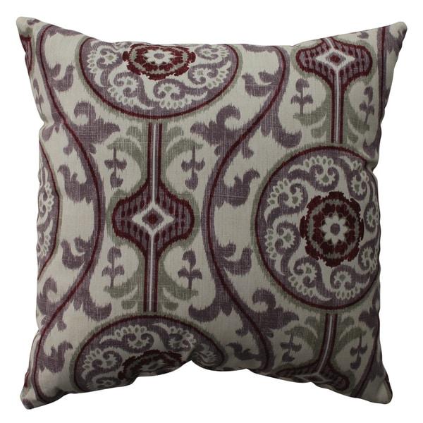 Pillow Perfect Suzani Damask Plum 16.5-inch Throw Pillow