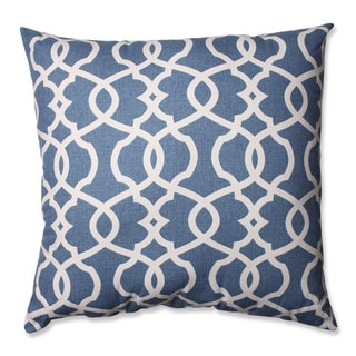 Pillow Perfect Lattice Damask Blue 24.5-inch Throw Pillow