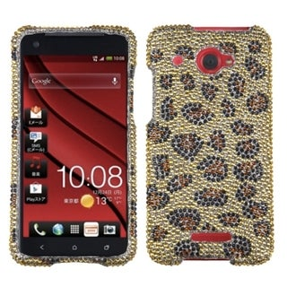 INSTEN Leopard Skin/ Camel Diamante Phone Case Cover for HTC Droid DNA