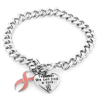West Coast Jewelry Silvertone Pink Enamel Breast Cancer Ribbon and Heart Charm Bracelet