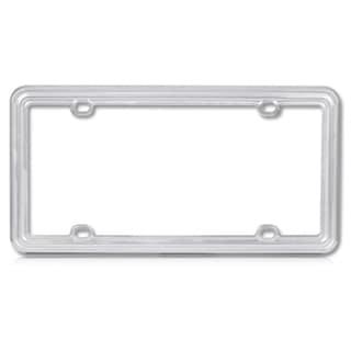 INSTEN Light Silver Plastic License Plate Frame