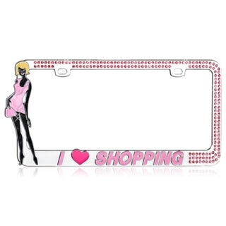 INSTEN I LOVE SHOPPING/ Pink Crystals License Plate Frame