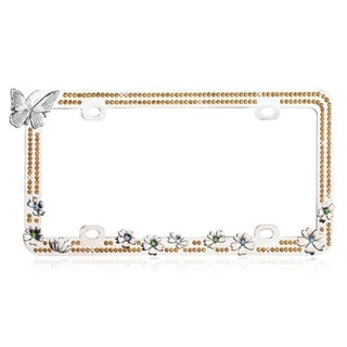 INSTEN Butterfly/ Colorful Flowers/ Yellow Crystal License Plate Frame