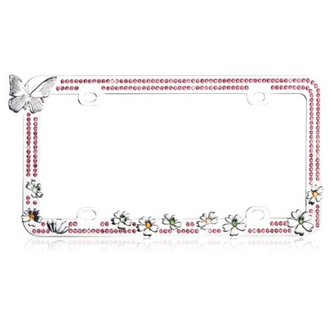 INSTEN Butterfly/ Colorful Flowers/ Pink Crystals License Plate Frame