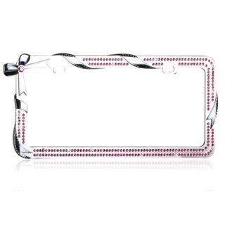 INSTEN Charming Bow/ Chrome Ribbon/ Pink Crystals License Plate Frame