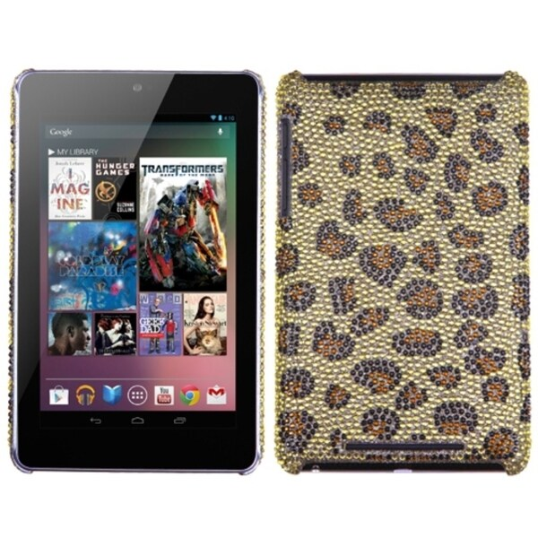 INSTEN Leopard Skin/ Camel Diamante Phone Case Cover for Google Nexus 7