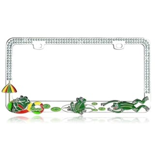 INSTEN Frogs on a Pond with Blue Crystals Metal License Plate Frame